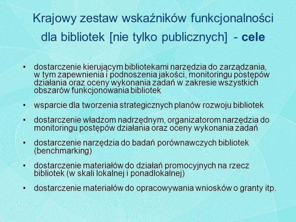 Krajowy zestaw wskaźników funkcjonalności dla bibliotek [nie tylko publicznych] - cele